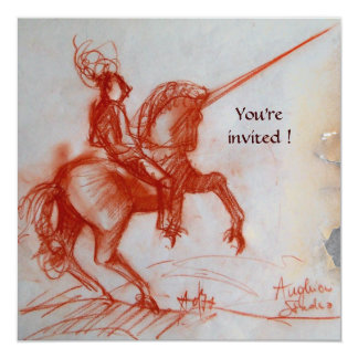 FLORENTINE KNIGHT ON HORSEBACK  parchment Card