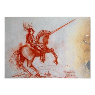 FLORENTINE KNIGHT ON HORSEBACK  parchment ice Card
