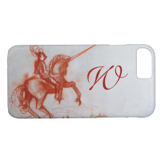 FLORENTINE  KNIGHT ON HORSEBACK Sepia Monogram iPhone 8/7 Case