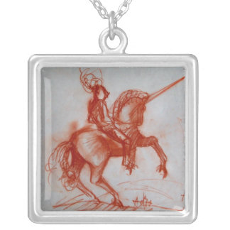 FLORENTINE  KNIGHT ON HORSEBACK SILVER PLATED NECKLACE