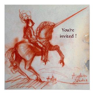 FLORENTINE KNIGHT ON HORSEBACK  white gold Card