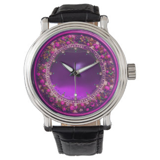 FLORENTINE PINK FLORAL CROWN ,FUCHSIA PURPLE GEM WATCHES