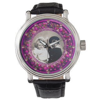 FLORENTINE PINK FLORAL CROWN PHOTO TEMPLATE WRISTWATCH