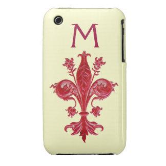 FLORENTINE RED LILY FLEUR DE LIS iPhone 3 COVERS