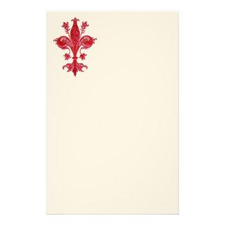 FLORENTINE RED LILY / FLEUR DE LISE ,White  Felt Stationery