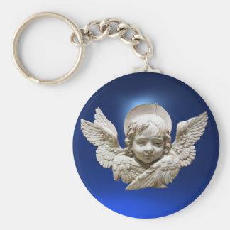 FLORENTINE RENAISSANCE ANGEL ,Blue Sapphire Gem Keychain