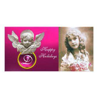 FLORENTINE RENAISSANCE ANGEL Fuchsia Gem Monogram Card