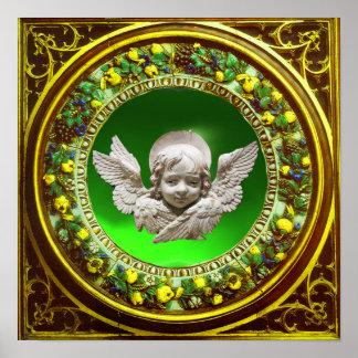 FLORENTINE RENAISSANCE ANGEL GREEN FLORAL CROWN POSTER