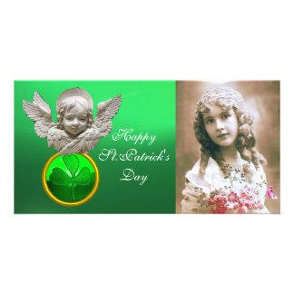 FLORENTINE RENAISSANCE ANGEL Green Shamrock  Gem Card