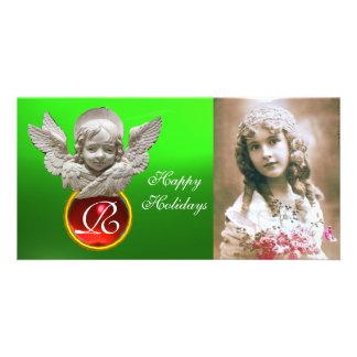 FLORENTINE RENAISSANCE ANGEL Red Gem Monogram Card