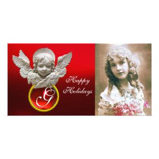 FLORENTINE RENAISSANCE ANGEL Red Ruby Gem Monogram Photo Card