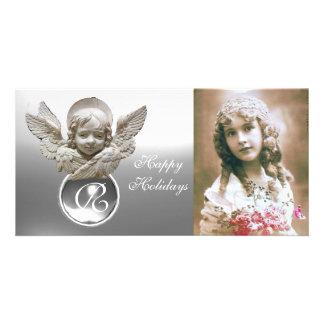 FLORENTINE RENAISSANCE ANGEL White Gem Monogram Card