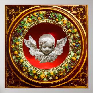 FLORENTINE RENAISSANCE ANGEL WITH FLORAL CROWN POSTER