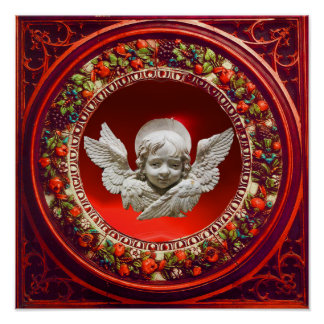 FLORENTINE RENAISSANCE ANGEL WITH RED FLORAL CROWN POSTER