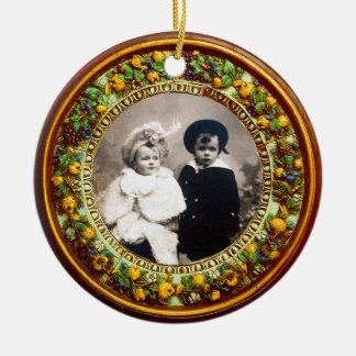 FLORENTINE  RENAISSANCE FRUITS Photo Template Ceramic Ornament