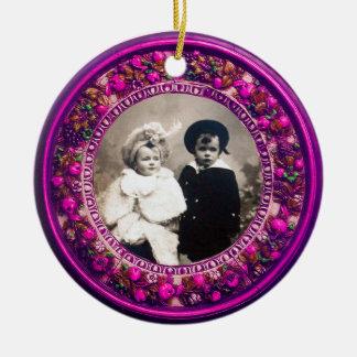FLORENTINE  RENAISSANCE FRUITS Photo Template Ruby Ceramic Ornament