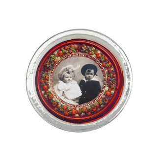 FLORENTINE RENAISSANCE FRUITS Red Photo Template Rings