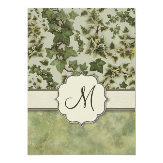 Florentine Watercolor Ivy with Monogram 5.5x7.5 Paper Invitation Card