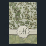 "Florentine Watercolor Ivy with Monogram Towel<br><div class=""desc"">A digital watercolor florentine style pattern of olive green and cream on top,  and a soft seafoam green and emerald marble image on the bottom,  with a ribbon overlay and a customizable monogram text seal.</div>"