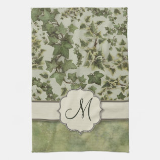 Florentine Watercolor Ivy With Monogram Towel at Zazzle
