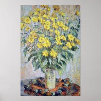 florero amarillo de crisantemos flor de Claude Mo Posters