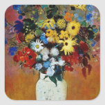 florero amarillo de las flores, flores de Odilon Calcomanía Cuadradas