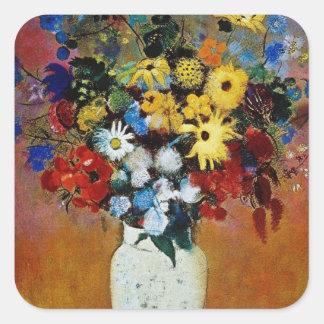 florero amarillo de las flores, flores de Odilon Pegatina Cuadrada