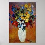 florero amarillo de las flores, flores de Odilon R Posters