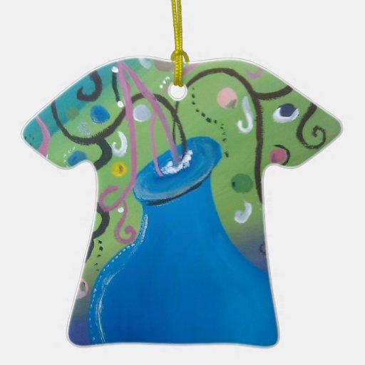 florero azul caprichoso adorno de cerámica en forma de camiseta