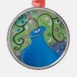 florero azul caprichoso ornamento de navidad