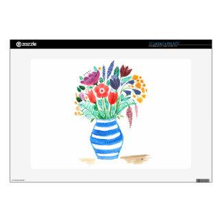Florero azul floral del Watercolour, flores Calcomanía Para Portátil