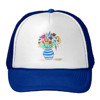 Florero azul floral del Watercolour, flores Gorras