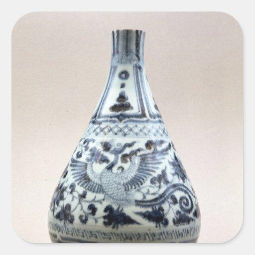 Florero azul y blanco, dinastía de Yuan Pegatina Cuadrada