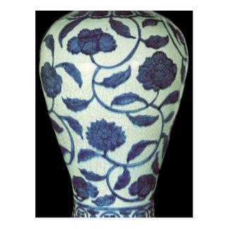 Florero azul y blanco grande, período de Jaijing Tarjeta Postal