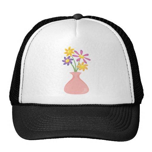 Florero bonito de flores gorros bordados