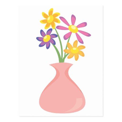 Florero bonito de flores postal