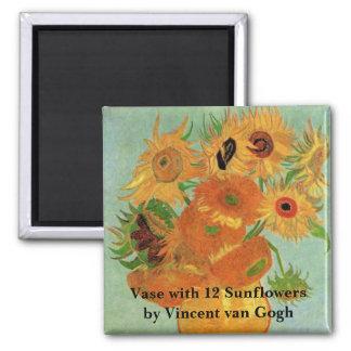 Florero con 12 girasoles, arte de Van Gogh de las Imán Cuadrado