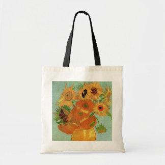 Florero con 12 girasoles, bella arte de Van Gogh