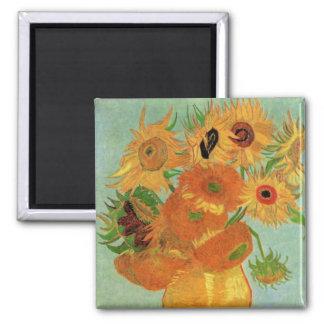 Florero con 12 girasoles, bella arte de Van Gogh Imán Cuadrado