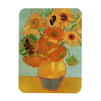 Florero con 12 girasoles, bella arte de Van Gogh Imanes Rectangulares