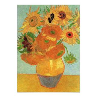 """Florero con 12 girasoles, bella arte de Van Gogh Invitación 5"""" X 7"""""""