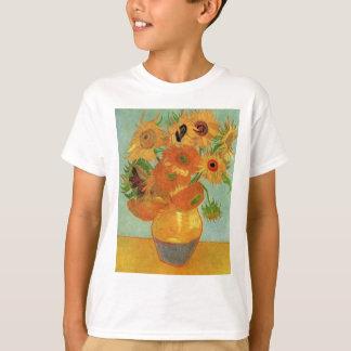 Florero con 12 girasoles, bella arte de Van Gogh Poleras