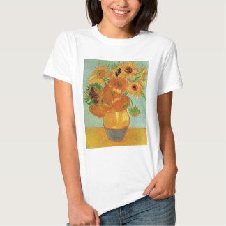 Florero con 12 girasoles, bella arte de Van Gogh Remera