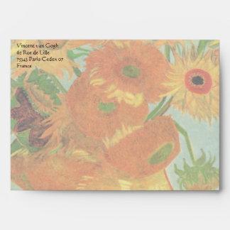 Florero con 12 girasoles, bella arte de Van Gogh Sobres