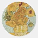 Florero con 12 girasoles etiquetas
