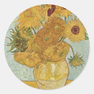 Florero con 12 girasoles etiquetas redondas