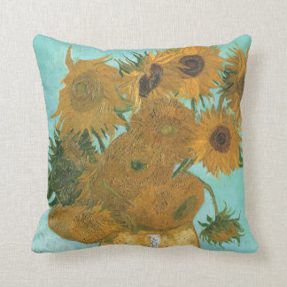 Florero con 12 girasoles por la flor del vintage almohada