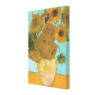 Florero con 12 girasoles por la flor del vintage lona envuelta para galerías