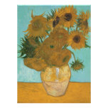 Florero con 12 girasoles por la flor del vintage impresiones