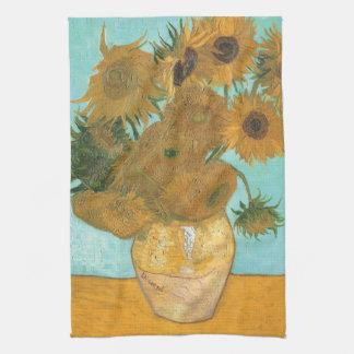 Florero con 12 girasoles por la flor del vintage toalla de mano